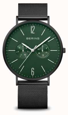 Bering Classic | homens | tapete preto | pulseira de malha preta 14240-128