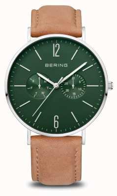 Bering Classic | homens | prata polida | pulseira de couro marrom 14240-608