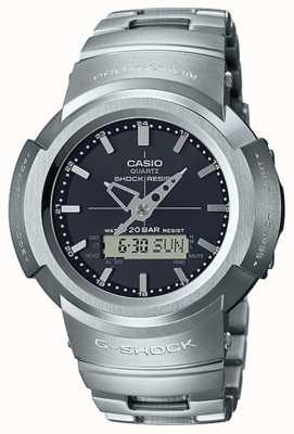 Casio G-shock | pulseira totalmente em metal | mostrador preto | Rádio-controlado AWM-500D-1AER