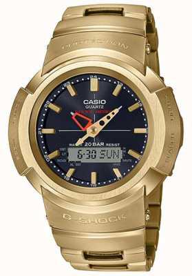 Casio G-shock | pulseira totalmente em metal | banhado a ouro | Rádio-controlado AWM-500GD-9AER