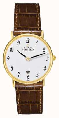 Michel Herbelin Sonates | 26mm | mostrador branco | pulseira de couro marrom 16845/P28GO