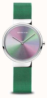 Bering Aniversário | mulheres | prata polida | pulseira de malha verde 10X31-ANNIVERSARY1
