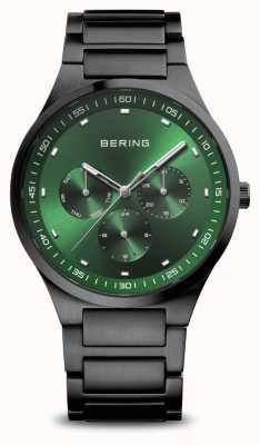 Bering Classic | homens | escovado preto | mostrador verde 11740-728