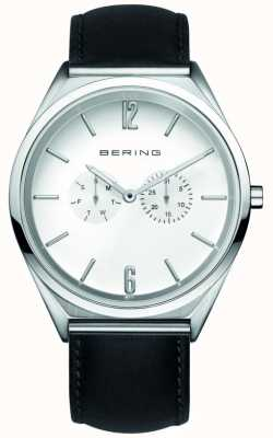 Bering Classic | unissex | pulseira de couro preta | mostrador branco 17140-404