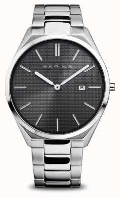 Bering Ultra slim | homens | prata polida / escovada | mostrador preto 17240-702