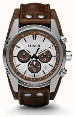 Fossil Mens sport cronógrafo relógio de couro marrom CH2565