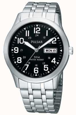 Pulsar Relógio de pulso analógico de aço inoxidável para homens PXN181X1