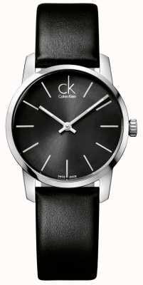 Calvin Klein Corpo de couro preta preto para mulheres da cidade K2G23107