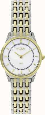 Rotary Relógio de bracelete ultra-fino feminino de dois tons LB08001/02